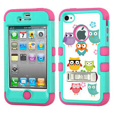 For Apple iPhone 4 4S Kick Stand Hybrid Case (Teal/Pink) - Cute Owls
