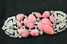 KTF Trifari Philippe Fruit Salad Rose Pink Rhinestones Brooch Pin