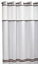 Hookless Fabric Shower Curtain with Built in Liner  - White/Brown, New