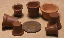 1:12 Scale 7 Terracotta Style Flower Plant Pots Dolls House Miniature Garden