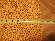 """Vintage 36"""" Wide COTTON Fabric 1940's Yellow BLACK Red CALICO Flowers Quilt Sew"""