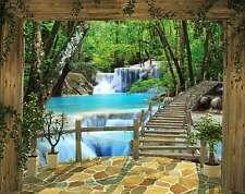 WALLTASTIC Fototapete Wasserfall Bäume Brücke Natur Wandtapete + Tapetenkleister