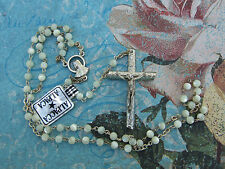 Catholic ROSARY Dainty Pearly Beads Alpaca Silver nice Crucifix & center medal