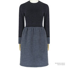 The Row Ash Blue Midnight Navy Contrasting Fabric Tweed Jacquard Dress US6 UK10