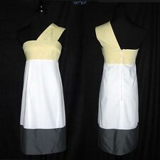 EUC $2K Narciso Rodriguez RUNWAY One-Shoulder Yellow White Gray Colorblock 6 42