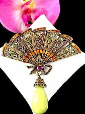 STUNNING HEIDI DAUS GOLDTONE ORANGE AMETHYST RHINESTONE FLORAL FAN DANGLE BROOCH