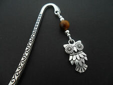 A TIBETAN SILVER  OWL  CHARM & TIGERS EYE  BOOKMARK. NEW.