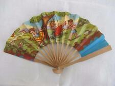 VINTAGE 1940's CHILDREN'S PRINTED WOOD HAND FAN - GIRL on a SWING