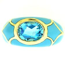 3 CT BLUE TOPAZ & TURQUOISE RING YELLOW GOLD NATURAL OVAL CUT BEAUTIFUL MOUNTING