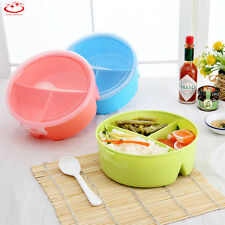 Hot Round Portable Microwave Lunch Box Picnic Bento Food Container Storage+Spoon
