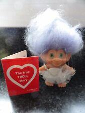 Vtg 1965 Scandia House Ballerina Troll Doll Green Eyes Lavender Hair Red  Card