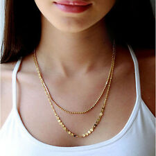 New Bohemian 9K Gold Plated Double Chain Sequins Beads Pendant Necklace