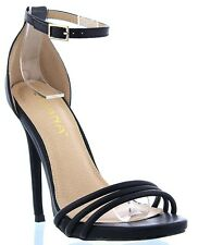 Asuka-11 Ankle Strap Stiletto High Heel Open Toe Pump Sandal Shoe Black