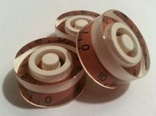 3 Guitar speed volume / tone knobs.. Brown/Cream.. JAT CUSTOM GUITAR PARTS