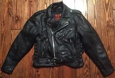 Men's Hot Leathers Black Leather Motorcycle Zippered Jacket Size 42 Excellent