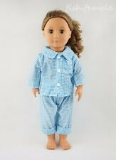 Blue Plaid Two-piece Pajamas Garment For 18'' American Girl Doll Clothes Gifts