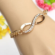 Crystal Infinite 8 Shade Charm Chain Gold Color Bracelet