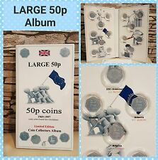 LARGE 50p COIN HUNT ALBUM 1969-1997, incl mintage! NO COINS.. no kew gardens