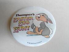 """VINTAGE 3"""" PROMO PINBACK BUTTON #92-021 - DISNEY - THUMPER'S EASTER EGG HUNT 85"""