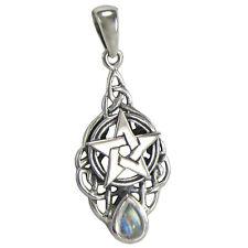 Sterling Silver Triquetra Knot Celtic Pentacle Drop Pendant Rainbow Moonstone