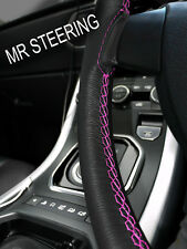 FOR BENTLEY R TYPE 52-55 TRUE LEATHER STEERING WHEEL COVER HOT PINK DOUBLE STCH