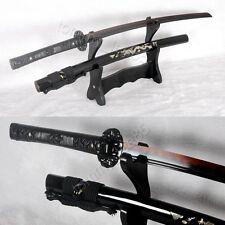 Black Katana Full Tang Clay Tempered Japanese Sword Damascus Battle Sharp Blade