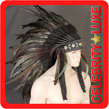 New 61cm Long Indian Chief Black Cock Feather Headdress Fancy Dress Costume Mens
