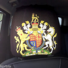 CAR SEAT HEAD REST COVERS 2 PACK QUEEN COAT OF ARMS DESIGN MADE IN YORKSHIRE