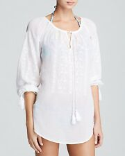 NEW Nanette Lepore Calcutta Embroidered Voile Coverup Tunic White L Large $128