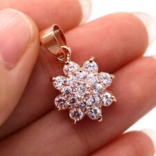 Pretty Flower Crystal Pendant 18k Rose Gold Plated White CZ Women Pendant Chain