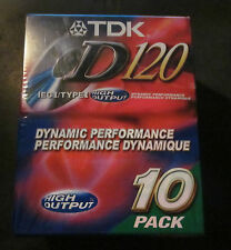 BRAND NEW TDK D120 D-120 Audio Cassette Tapes 10 PACK High Fidelity Output