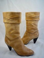 Frye Women's Size 7.5 Simone Cuff Mid Calf Leather Boots Beige Brown Reg $328