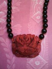 NEW LOVELY VINTAGE ONYX 5MM BEAD  CARVED RED FLOWER ROSE 14K  GOLD NECKLACE