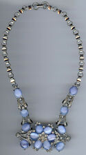 REINAD DAZZLING RETRO VINTAGE BLUE MOONGLOW GLASS RHINESTONE NECKLACE