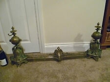 FRENCH ANTIQUE (mid late 1800s) EXTENDIBLE, VERY ORNATE, BRASS FIREPLACE FENDER,