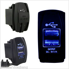 Waterproof Blue Light Charger Carling ARB Rocker Switch Dual USB Power CAR/Boat
