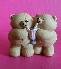 Forever Friends Vintage Strawberry Milkshake Sharing Bear's Figurine