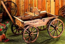 RUSTIC FIR WOOD WAGON WHEEL BUCKBOARD PLANTER WAGON * Rolling Yard Decor * NIB