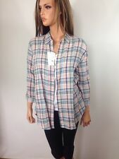 Uniqlo Women's Premium Linen Checkered Button Down Shirt Blouse 3/4 Sleeve,  XL