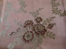 Vintage French Floral Roses Garland Satin Brocade Fabric ~ Blush Rose Burgundy