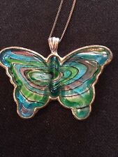 VINTAGE STYLE TURQUOISE ENAMEL BUTTERFLY NECKLACE (889)