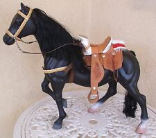 "20"" Black Stallion Horse w/ Leather Saddle Sombrero Made in Mexico"