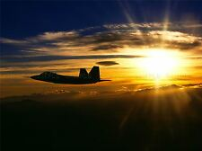 MILITARY AIR PLANE FIGHTER JET SUN SET DUSK FA-22 RAPTOR POSTER PRINT BB1112A