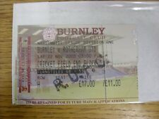 22/11/2003 Ticket: Burnley v Rotherham United [Complete Ticket, Complimentary] .