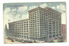 1911 Postcard The Boston Store Chicago Illinois Street Cars Flags