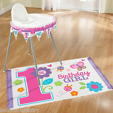 Sweet Pink Butterfly Girl's Happy 1st Birthday Party High Chair Decorating Kit