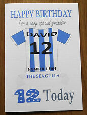 """BRIGHTON FAN Unofficial PERSONALISED Football Birthday Card (""""THE SEAGULLS"""")"""