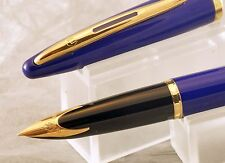 WATERMAN CARENE VIVID BLUE FOUNTAIN PEN, 18K F NIB, VERY LIGHT USE, BOX
