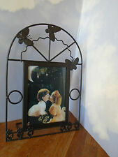"""LARGE METAL FRAME FOR 5""""x7"""" PHOTO, BUTTERFLIES & FLOWERS, EASEL BACK STAND, VG"""