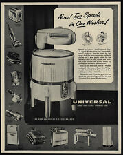 1947 UNIVERSAL Two-Speed Washing Machine - Now 2 Speeds in 1 Washer! VINTAGE AD